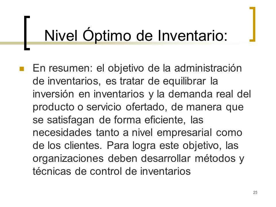 25 Nivel Óptimo de Inventario: En resumen: el objetivo de la administración de inventarios, es tratar de equilibrar la inversión en inventarios y la d