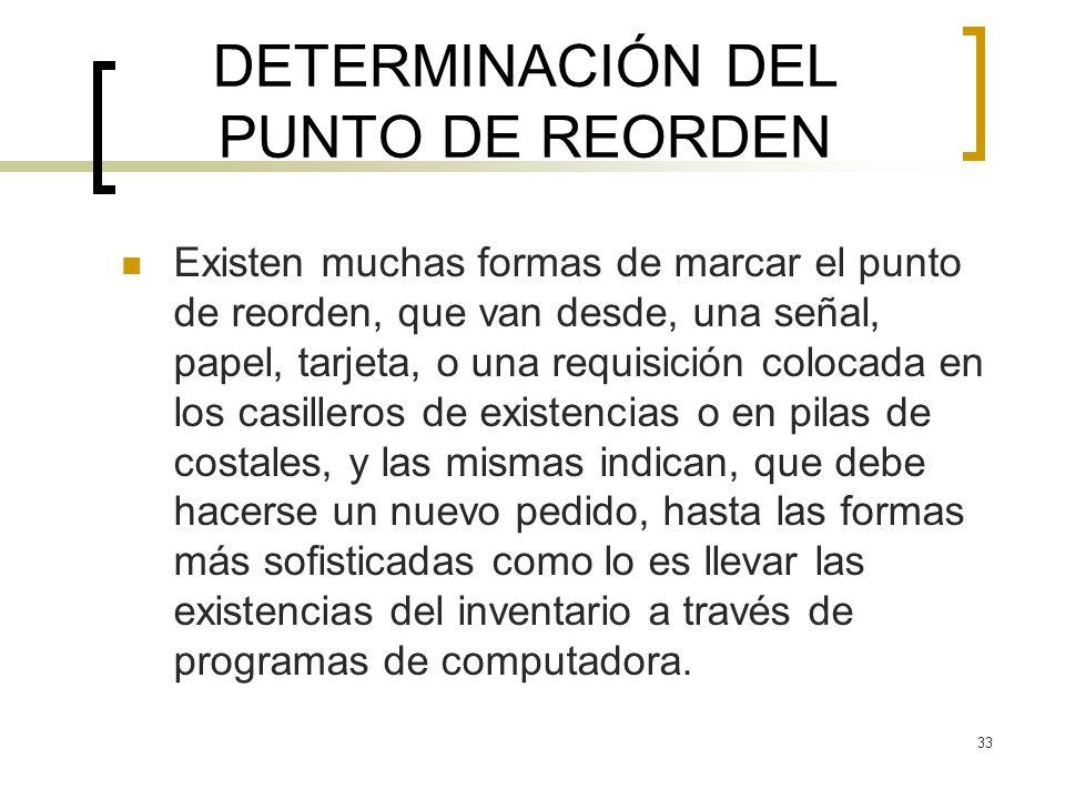 33 DETERMINACIÓN DEL PUNTO DE REORDEN Existen muchas formas de marcar el punto de reorden, que van desde, una señal, papel, tarjeta, o una requisición