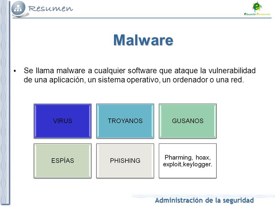 Administración de la seguridad Malware Se llama malware a cualquier software que ataque la vulnerabilidad de una aplicación, un sistema operativo, un