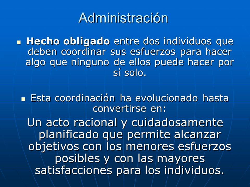 Administración Hecho obligado entre dos individuos que deben coordinar sus esfuerzos para hacer algo que ninguno de ellos puede hacer por sí solo. Hec