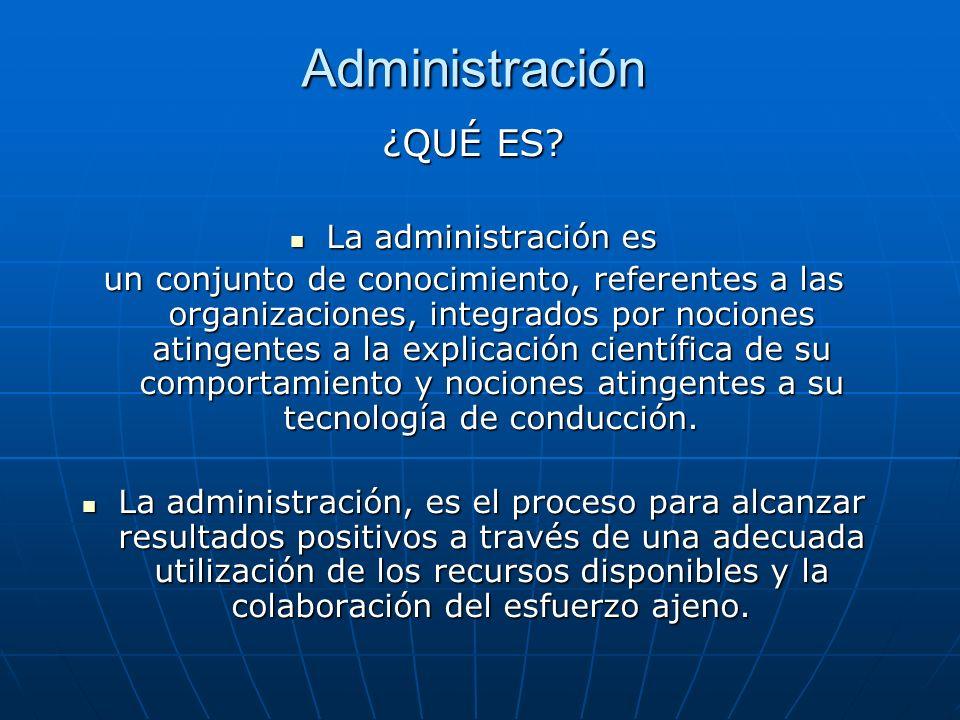 Administración ¿QUÉ ES? La administración es La administración es un conjunto de conocimiento, referentes a las organizaciones, integrados por nocione