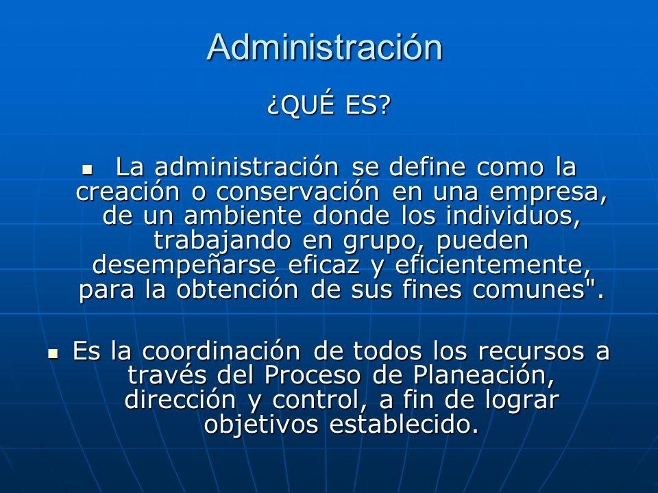 Administración ¿QUÉ ES? La administración se define como la creación o conservación en una empresa, de un ambiente donde los individuos, trabajando en