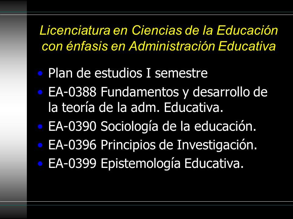 Licenciatura en Ciencias de la Educación con énfasis en Administración Educativa Plan de estudios I semestre EA-0388 Fundamentos y desarrollo de la teoría de la adm.
