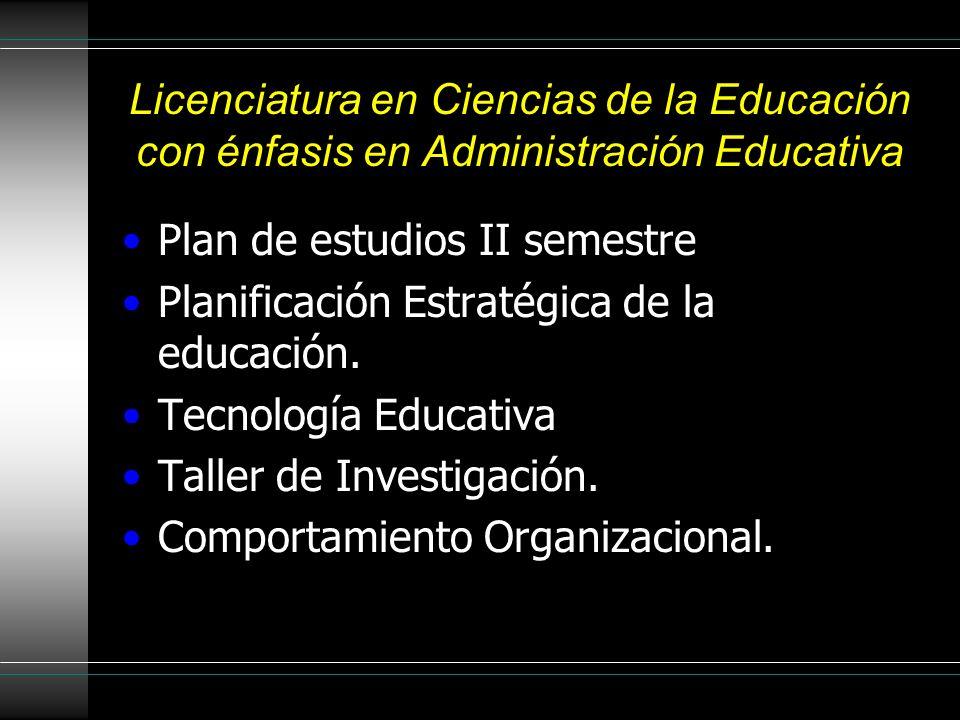 Licenciatura en Ciencias de la Educación con énfasis en Administración Educativa Plan de estudios II semestre Planificación Estratégica de la educación.
