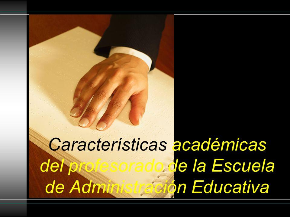 Características académicas del profesorado de la Escuela de Administración Educativa