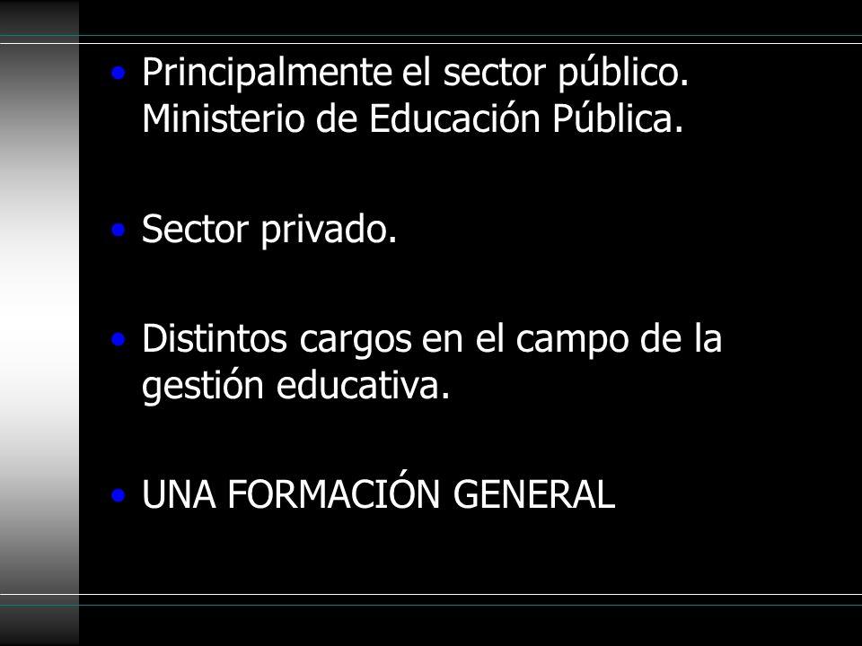 Principalmente el sector público. Ministerio de Educación Pública. Sector privado. Distintos cargos en el campo de la gestión educativa. UNA FORMACIÓN