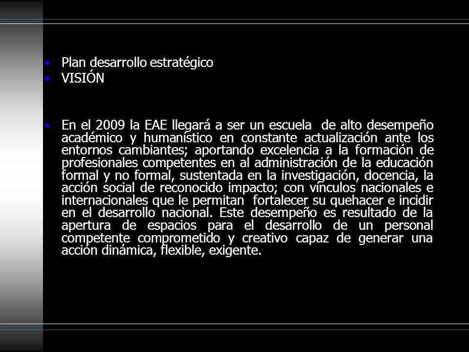 Plan desarrollo estratégico VISIÓN En el 2009 la EAE llegará a ser un escuela de alto desempeño académico y humanístico en constante actualización ant