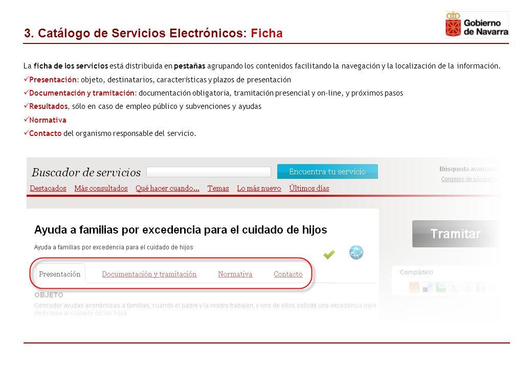 La ficha de los servicios está distribuida en pestañas agrupando los contenidos facilitando la navegación y la localización de la información.