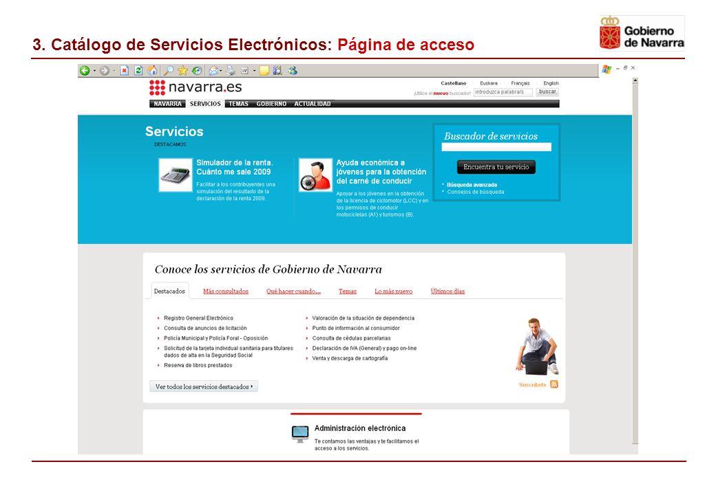 3. Catálogo de Servicios Electrónicos: Página de acceso