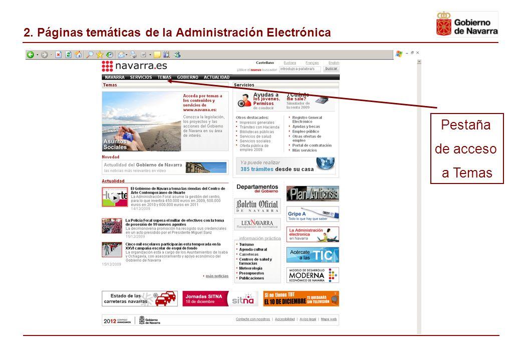 2. Páginas temáticas de la Administración Electrónica Pestaña de acceso a Temas
