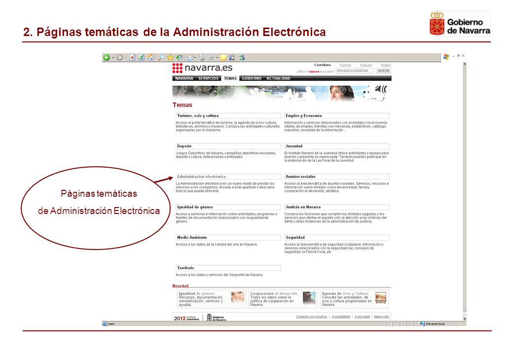 2. Páginas temáticas de la Administración Electrónica Páginas temáticas de Administración Electrónica