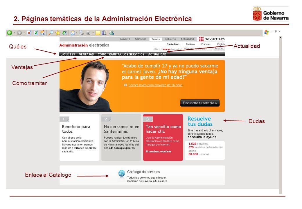 2. Páginas temáticas de la Administración Electrónica Qué es Cómo tramitar Ventajas Actualidad Enlace al Catálogo Actualidad Dudas