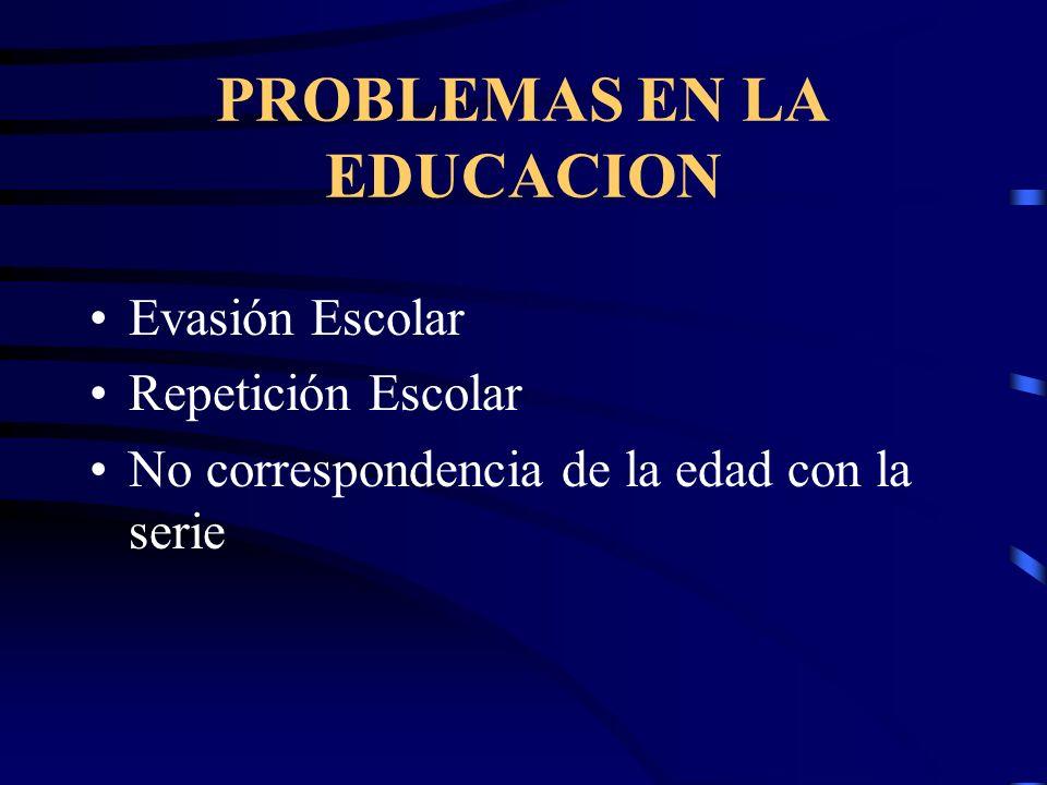 PROBLEMAS EN LA EDUCACION Evasión Escolar Repetición Escolar No correspondencia de la edad con la serie