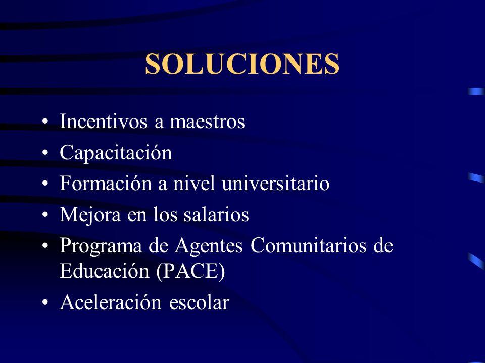 SOLUCIONES Incentivos a maestros Capacitación Formación a nivel universitario Mejora en los salarios Programa de Agentes Comunitarios de Educación (PACE) Aceleración escolar