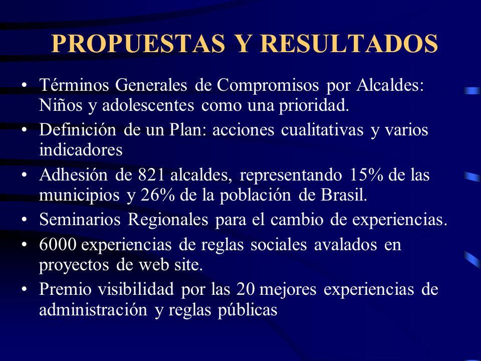 PROPUESTAS Y RESULTADOS Términos Generales de Compromisos por Alcaldes: Niños y adolescentes como una prioridad.