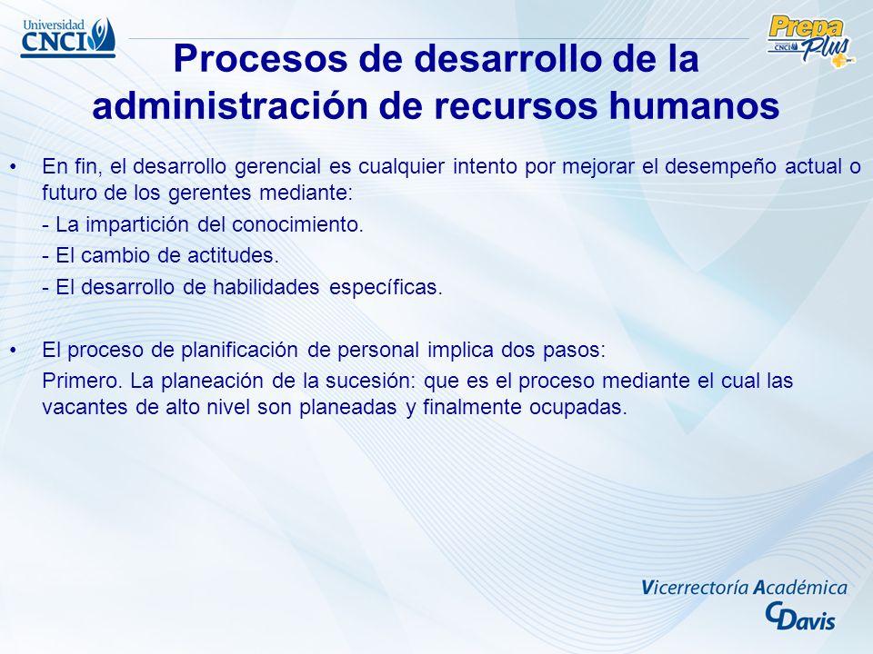 Procesos de desarrollo de la administración de recursos humanos En fin, el desarrollo gerencial es cualquier intento por mejorar el desempeño actual o