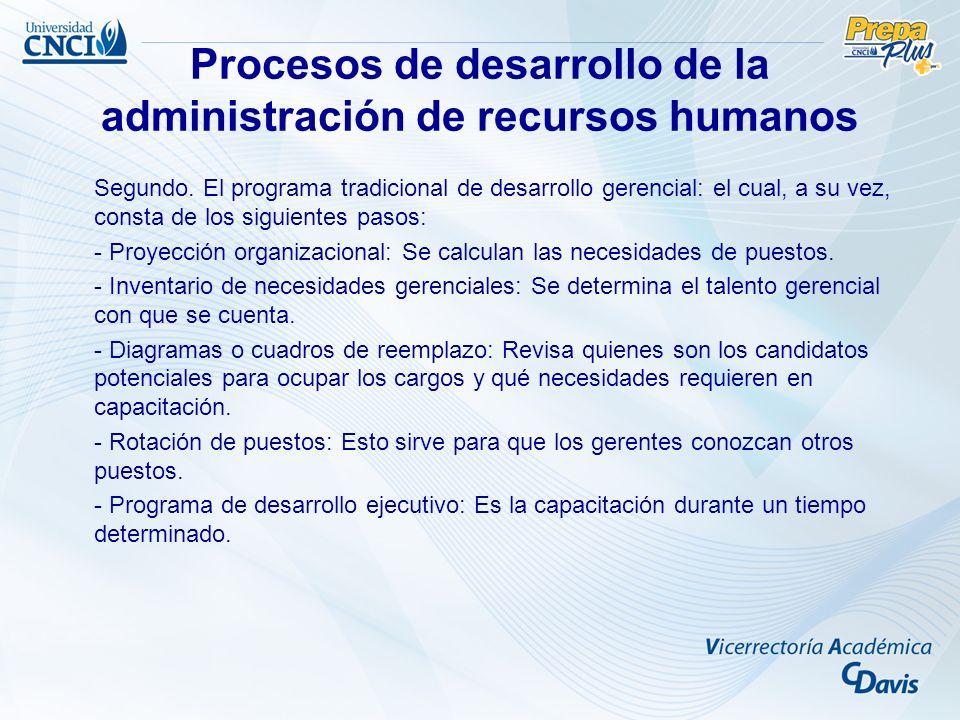 Procesos de desarrollo de la administración de recursos humanos Segundo. El programa tradicional de desarrollo gerencial: el cual, a su vez, consta de