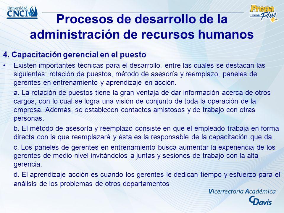 Procesos de desarrollo de la administración de recursos humanos 4. Capacitación gerencial en el puesto Existen importantes técnicas para el desarrollo