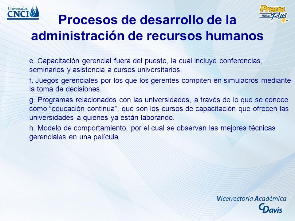 Procesos de desarrollo de la administración de recursos humanos e. Capacitación gerencial fuera del puesto, la cual incluye conferencias, seminarios y