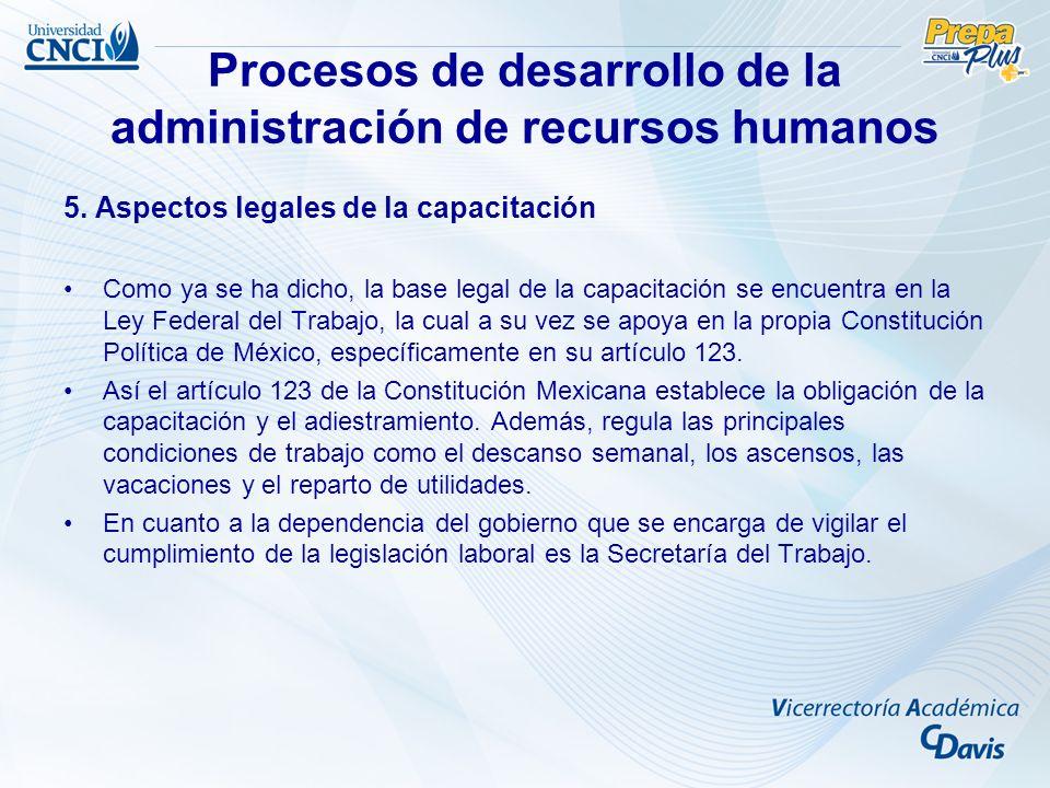 Procesos de desarrollo de la administración de recursos humanos 5. Aspectos legales de la capacitación Como ya se ha dicho, la base legal de la capaci