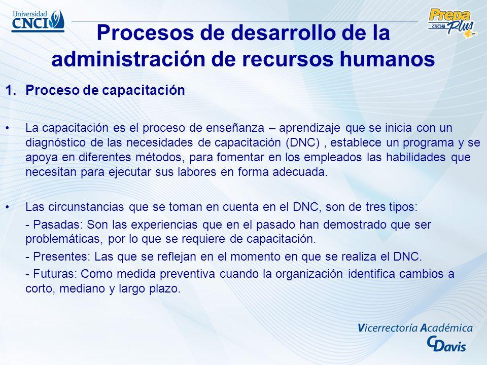 Procesos de desarrollo de la administración de recursos humanos Las principales fases del Diagnóstico de Necesidades de Capacitación (DNC) son: - Establecimiento de la situación ideal: Lo que debería tener el personal.