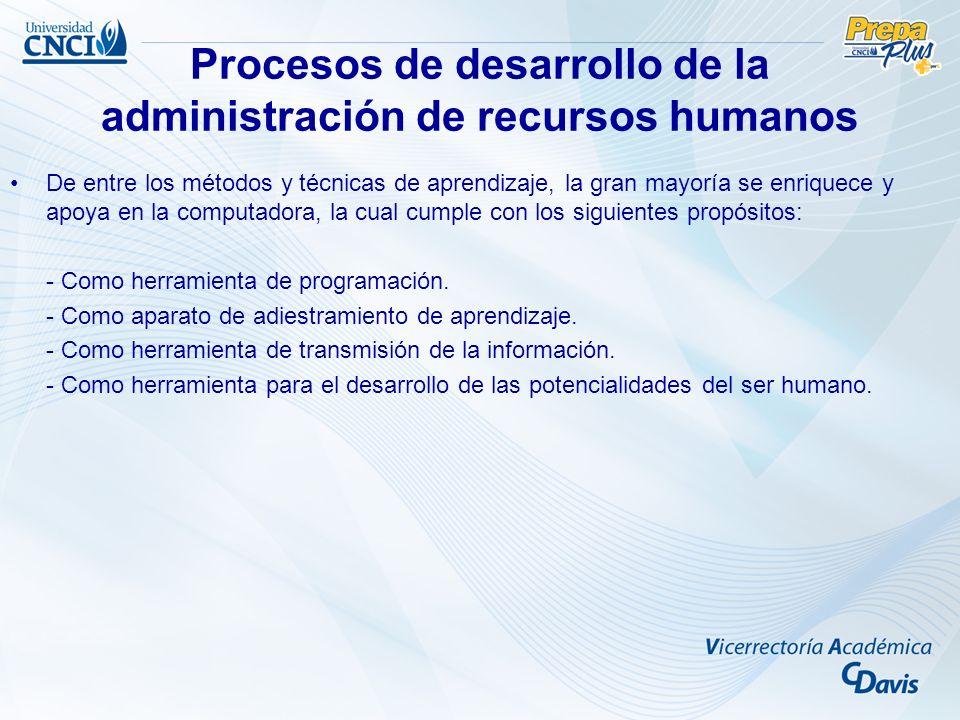 Procesos de desarrollo de la administración de recursos humanos De entre los métodos y técnicas de aprendizaje, la gran mayoría se enriquece y apoya e
