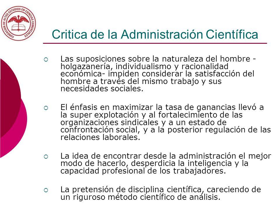 Critica de la Administración Científica Las suposiciones sobre la naturaleza del hombre - holgazanería, individualismo y racionalidad económica- impid