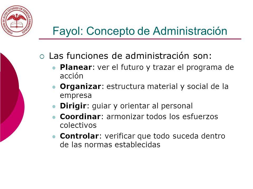 Fayol: Concepto de Administración Las funciones de administración son: Planear: ver el futuro y trazar el programa de acción Organizar: estructura mat
