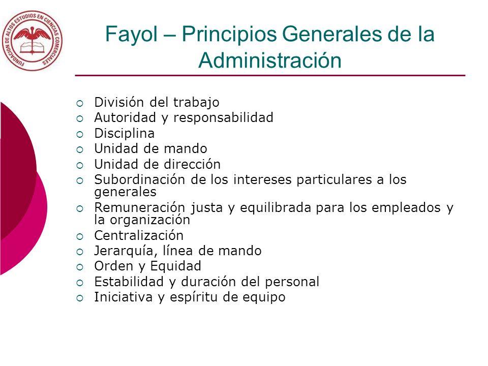 Fayol – Principios Generales de la Administración División del trabajo Autoridad y responsabilidad Disciplina Unidad de mando Unidad de dirección Subo