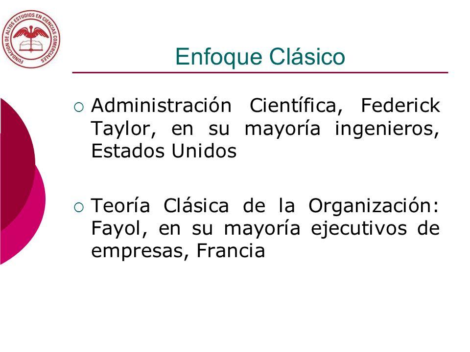 Enfoque Clásico Administración Científica, Federick Taylor, en su mayoría ingenieros, Estados Unidos Teoría Clásica de la Organización: Fayol, en su m