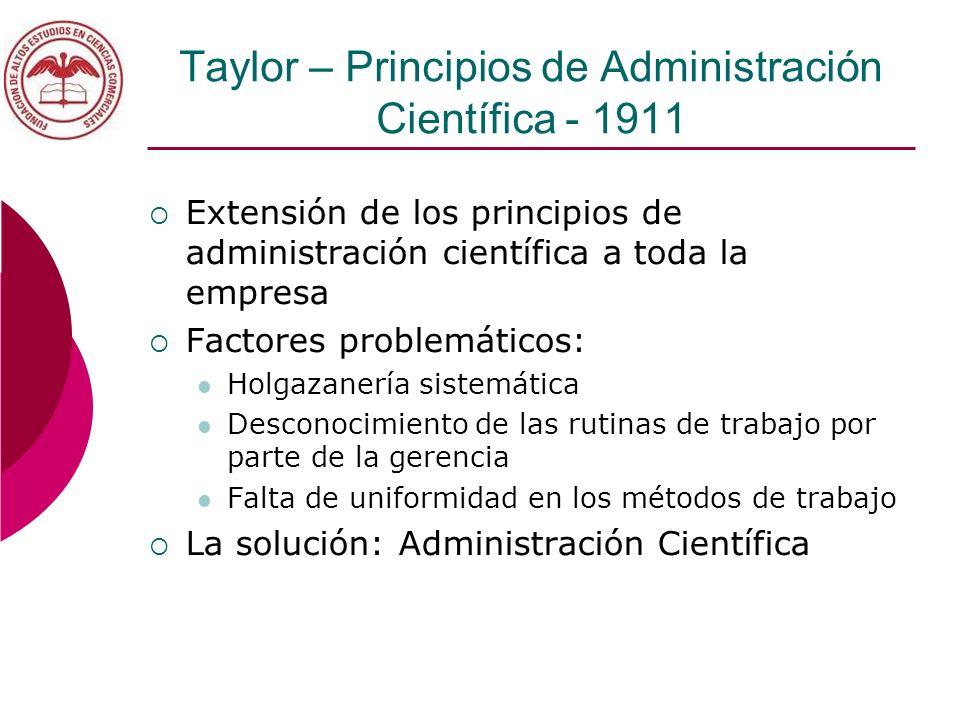 Taylor – Principios de Administración Científica - 1911 Extensión de los principios de administración científica a toda la empresa Factores problemáti