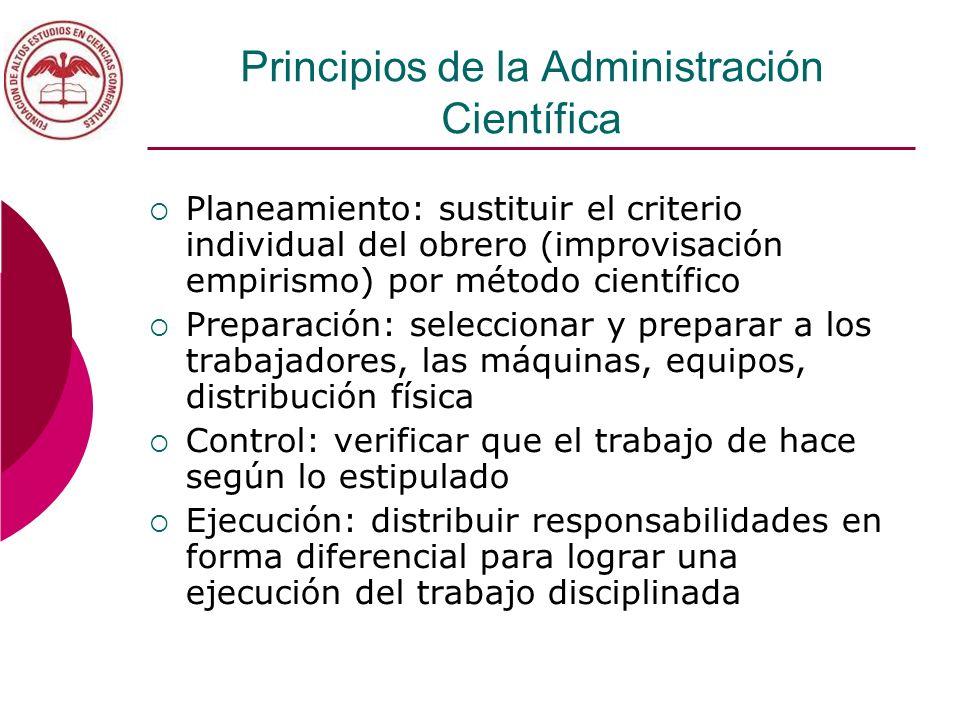 Principios de la Administración Científica Planeamiento: sustituir el criterio individual del obrero (improvisación empirismo) por método científico P
