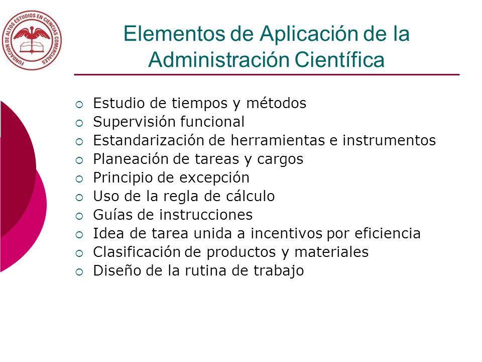 Elementos de Aplicación de la Administración Científica Estudio de tiempos y métodos Supervisión funcional Estandarización de herramientas e instrumen