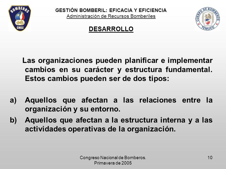 Congreso Nacional de Bomberos. Primavera de 2005 10 Las organizaciones pueden planificar e implementar cambios en su carácter y estructura fundamental