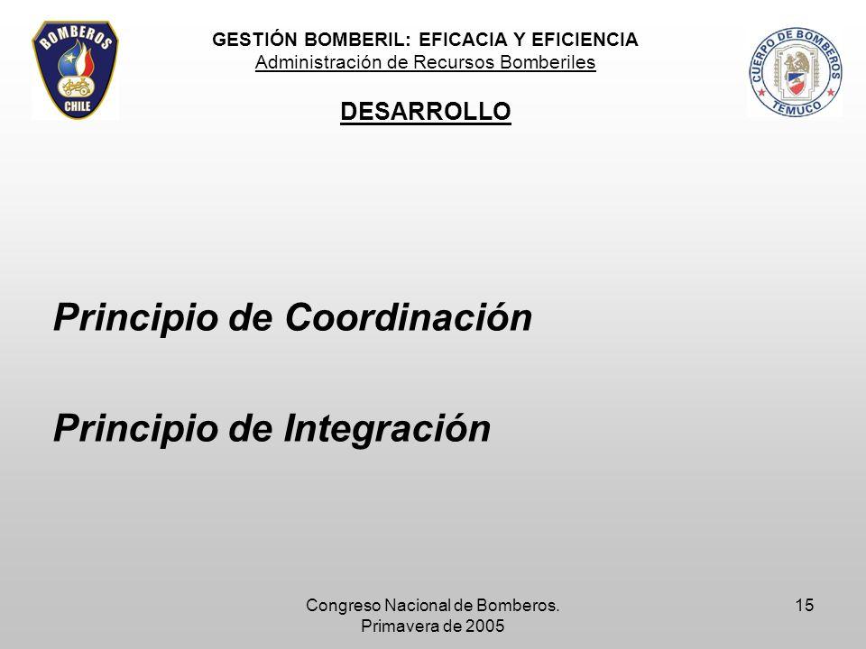 Congreso Nacional de Bomberos. Primavera de 2005 15 Principio de Coordinación Principio de Integración GESTIÓN BOMBERIL: EFICACIA Y EFICIENCIA Adminis