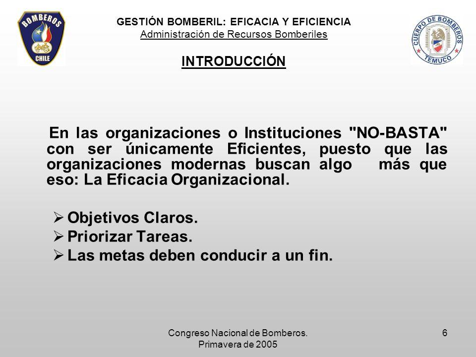 Congreso Nacional de Bomberos. Primavera de 2005 6 En las organizaciones o Instituciones