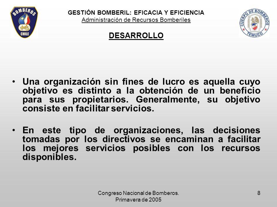 Congreso Nacional de Bomberos. Primavera de 2005 8 Una organización sin fines de lucro es aquella cuyo objetivo es distinto a la obtención de un benef
