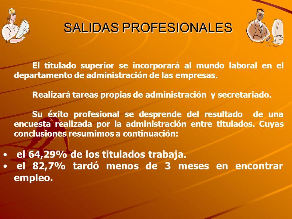 SALIDAS PROFESIONALES SALIDAS PROFESIONALES El titulado superior se incorporará al mundo laboral en el departamento de administración de las empresas.