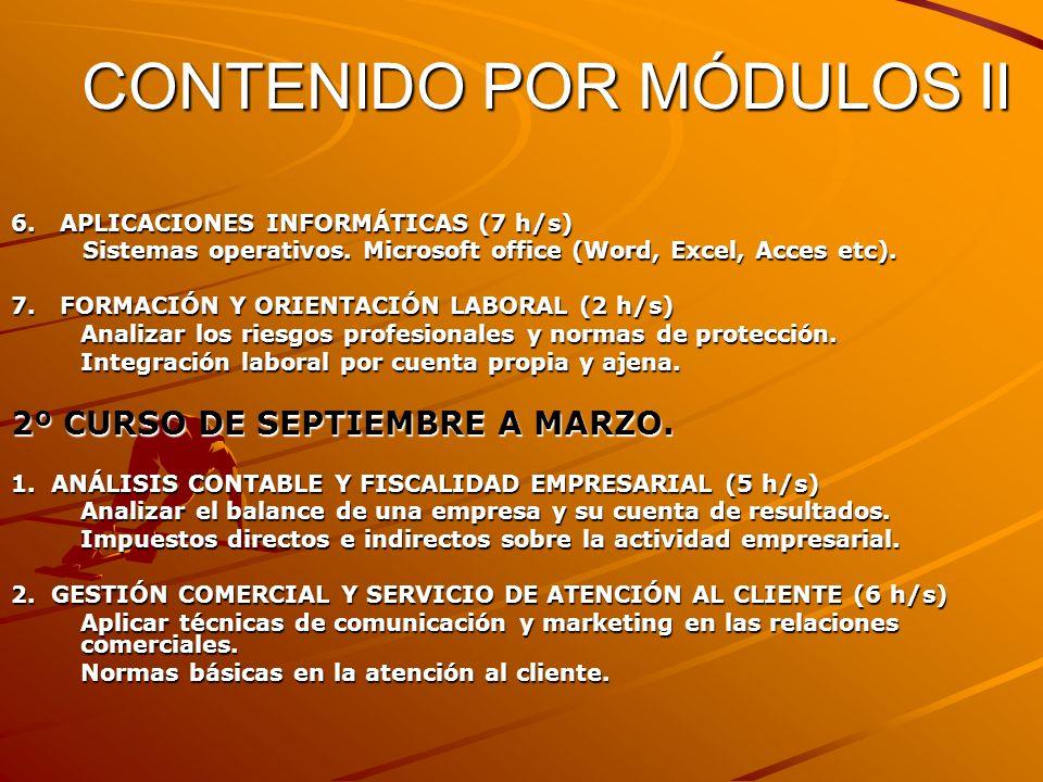 CONTENIDO POR MÓDULOS II 6. APLICACIONES INFORMÁTICAS (7 h/s) Sistemas operativos. Microsoft office (Word, Excel, Acces etc). Sistemas operativos. Mic