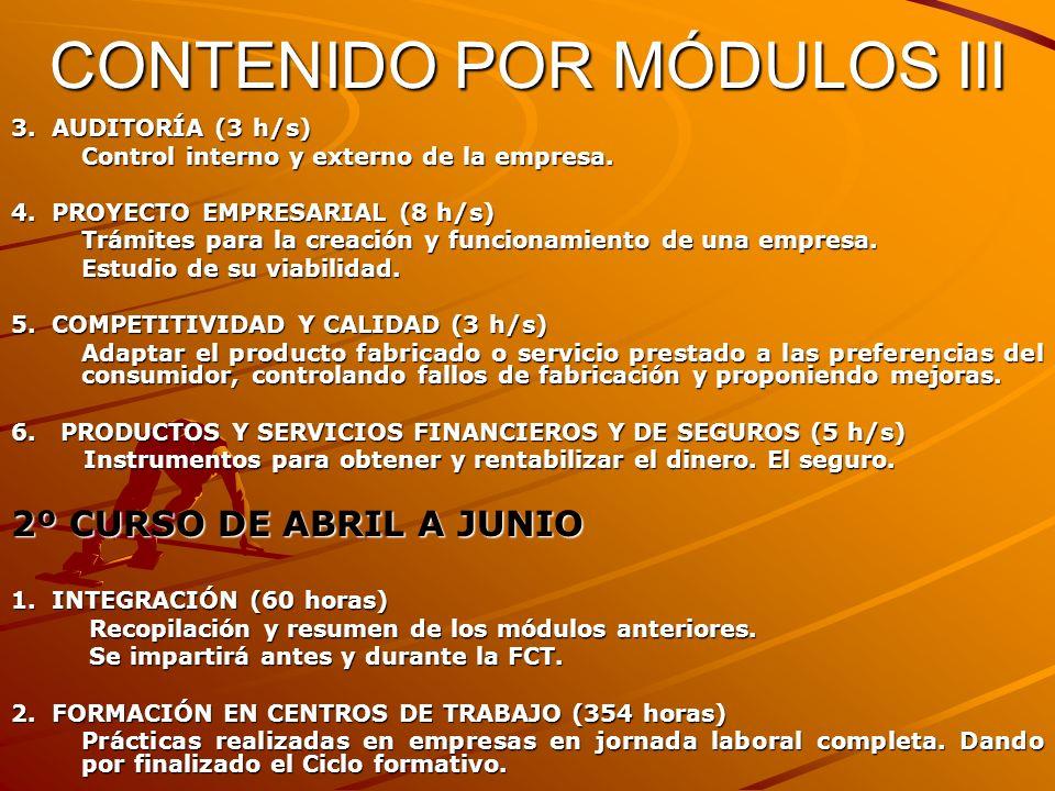 CONTENIDO POR MÓDULOS III 3. AUDITORÍA (3 h/s) Control interno y externo de la empresa. 4. PROYECTO EMPRESARIAL (8 h/s) Trámites para la creación y fu