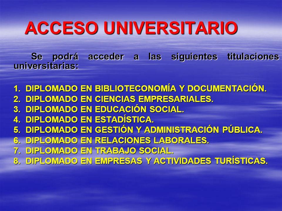 ACCESO UNIVERSITARIO Se podrá acceder a las siguientes titulaciones universitarias: 1. DIPLOMADO EN BIBLIOTECONOMÍA Y DOCUMENTACIÓN. 2. DIPLOMADO EN C