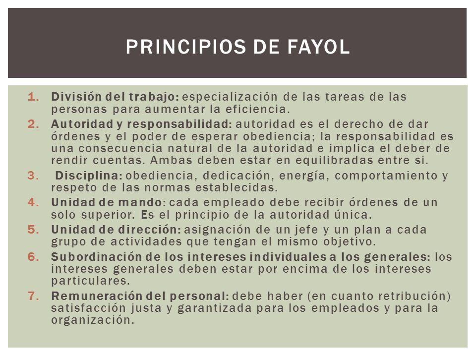 1.División del trabajo: especialización de las tareas de las personas para aumentar la eficiencia. 2.Autoridad y responsabilidad: autoridad es el dere
