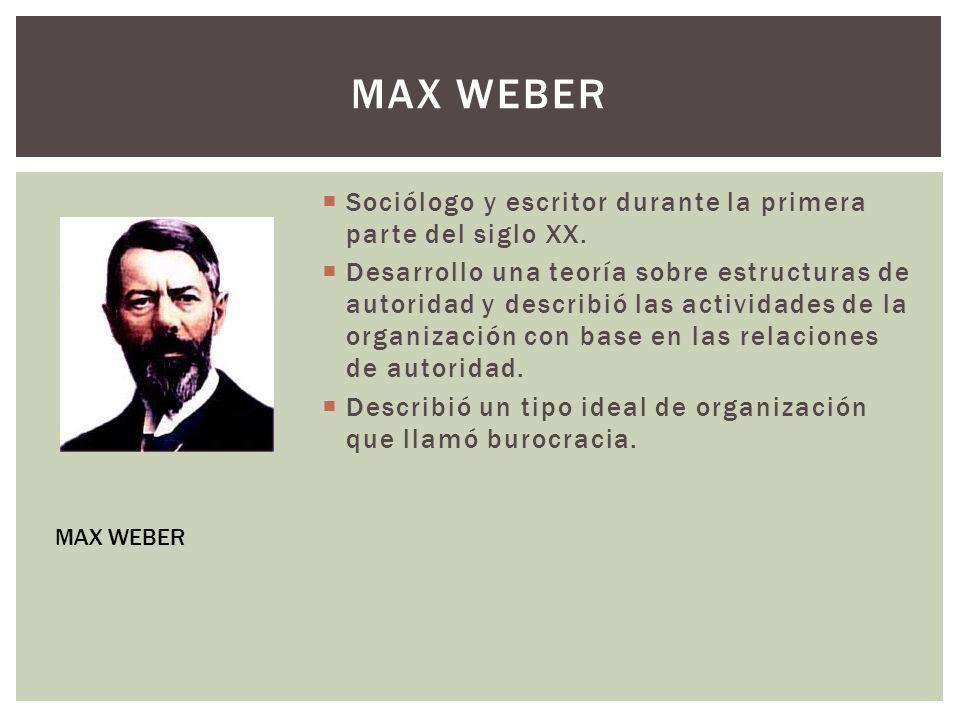 Sociólogo y escritor durante la primera parte del siglo XX. Desarrollo una teoría sobre estructuras de autoridad y describió las actividades de la org