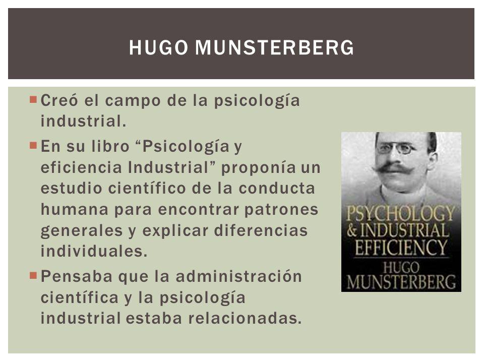 Creó el campo de la psicología industrial. En su libro Psicología y eficiencia Industrial proponía un estudio científico de la conducta humana para en