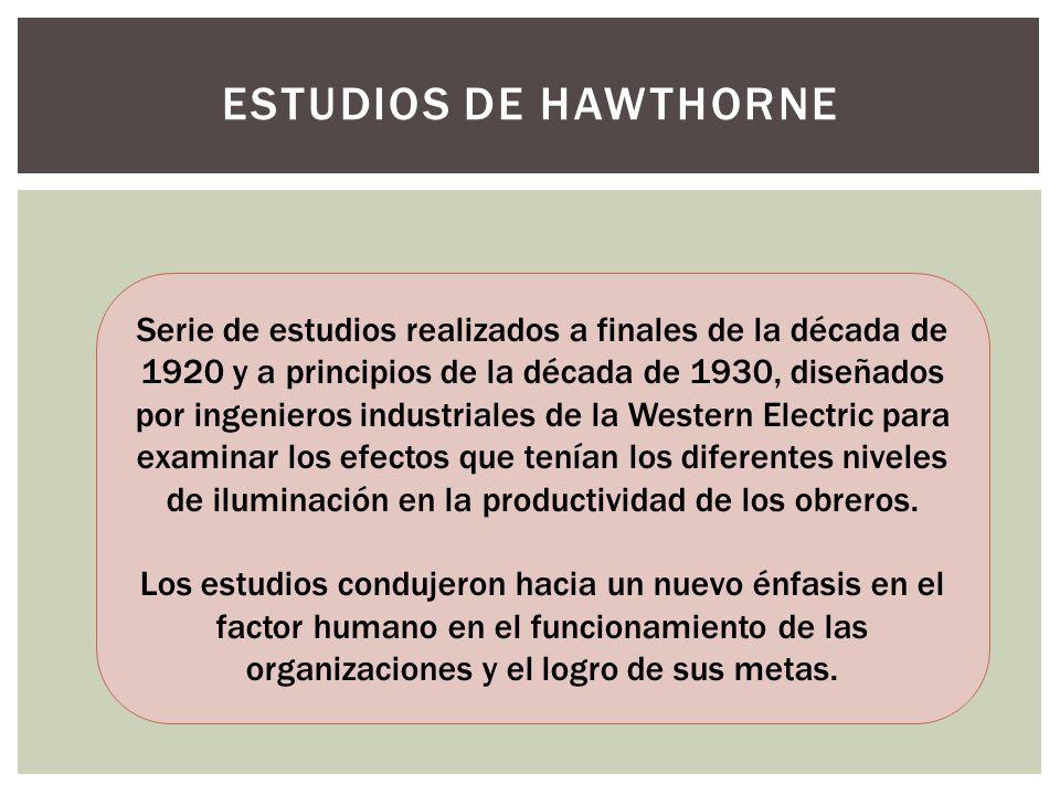 ESTUDIOS DE HAWTHORNE Serie de estudios realizados a finales de la década de 1920 y a principios de la década de 1930, diseñados por ingenieros indust