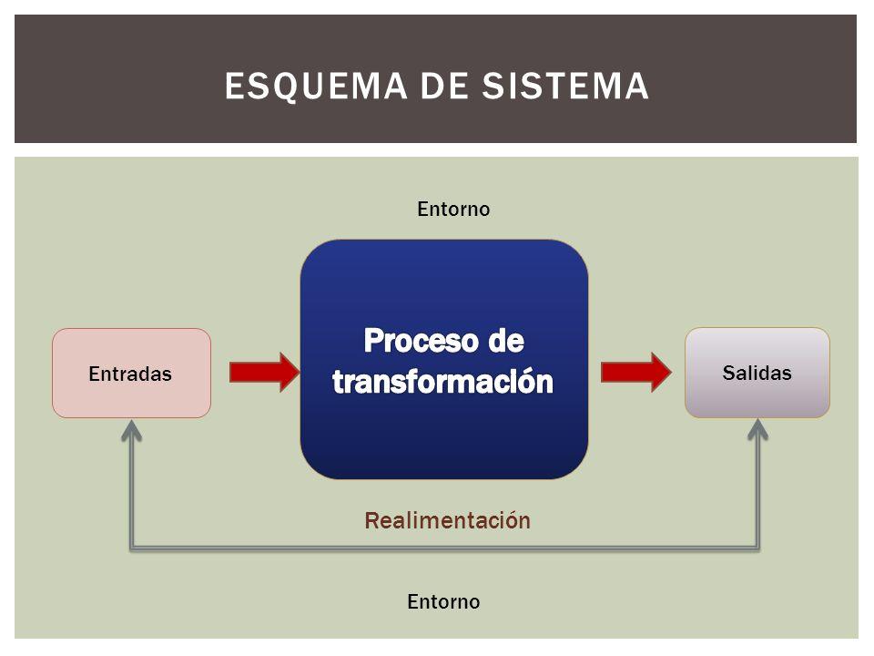 ESQUEMA DE SISTEMA Entradas Salidas Realimentación Entorno