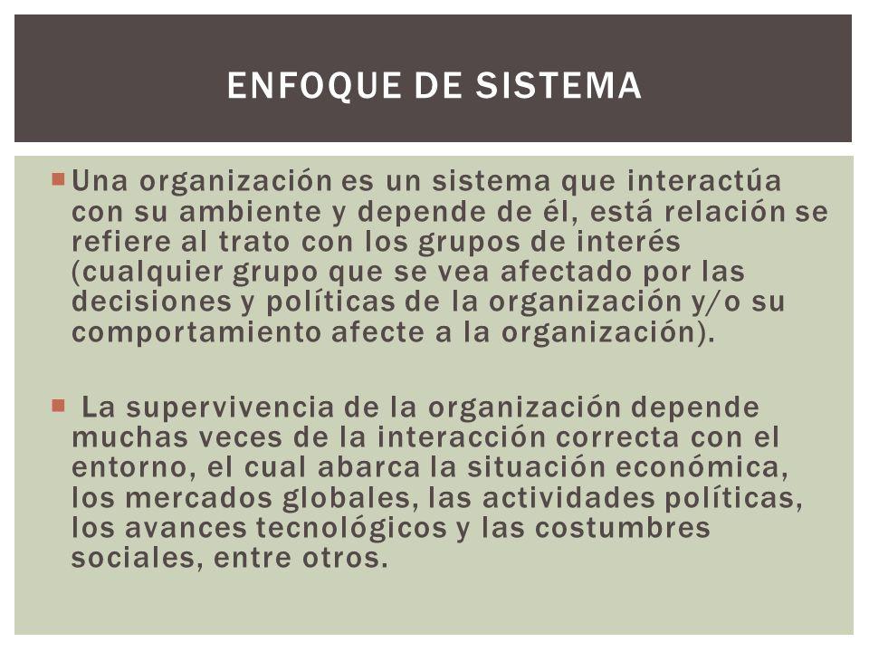 Una organización es un sistema que interactúa con su ambiente y depende de él, está relación se refiere al trato con los grupos de interés (cualquier