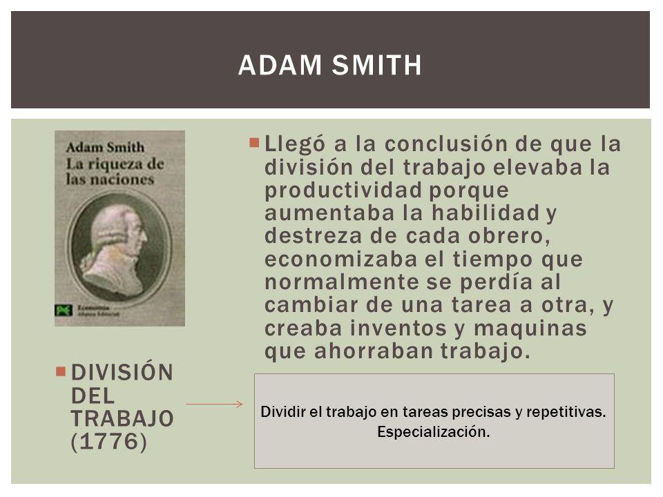 DIVISIÓN DEL TRABAJO (1776) Llegó a la conclusión de que la división del trabajo elevaba la productividad porque aumentaba la habilidad y destreza de