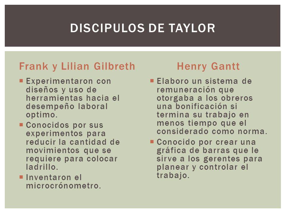 Frank y Lilian Gilbreth Experimentaron con diseños y uso de herramientas hacia el desempeño laboral optimo. Conocidos por sus experimentos para reduci
