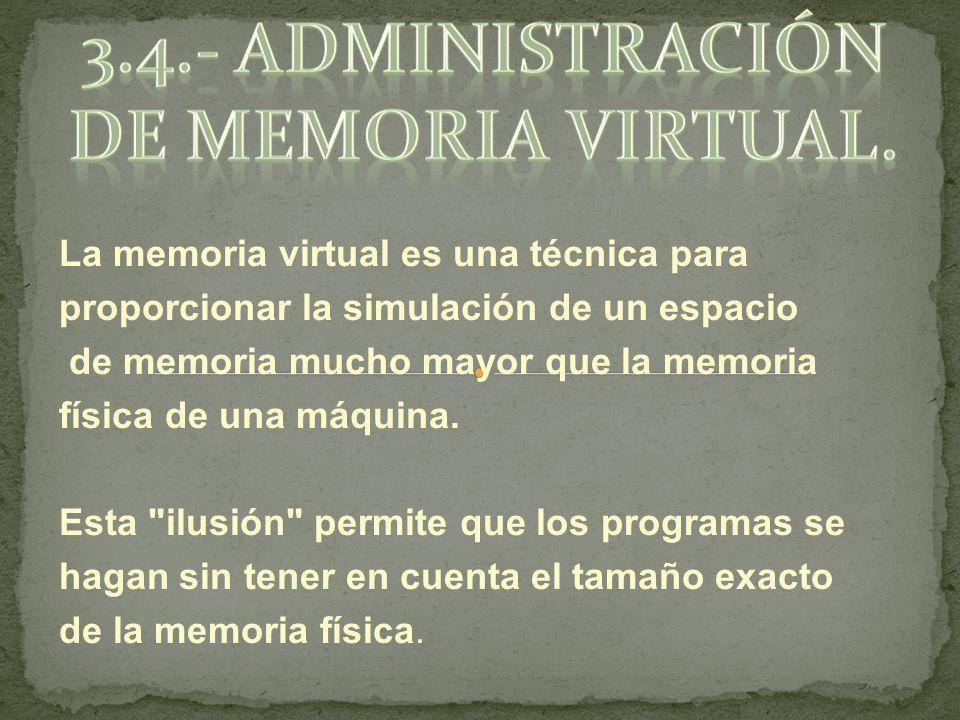 La memoria virtual es una técnica para proporcionar la simulación de un espacio de memoria mucho mayor que la memoria física de una máquina.